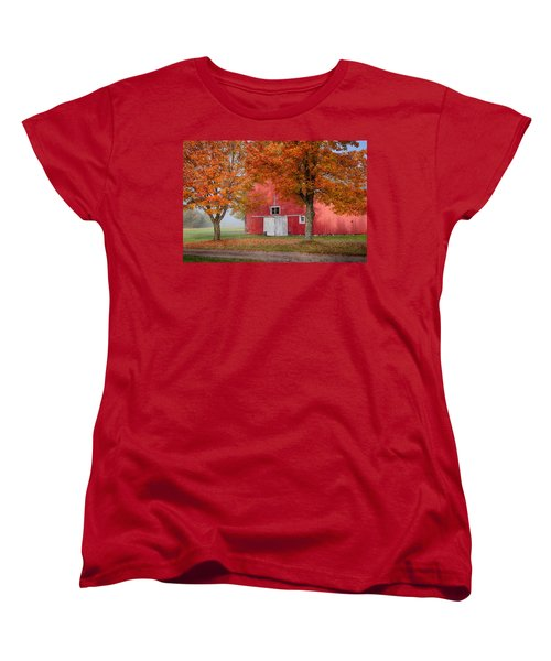 Women's T-Shirt (Standard Cut) featuring the photograph Red Barn With White Barn Door by Jeff Folger