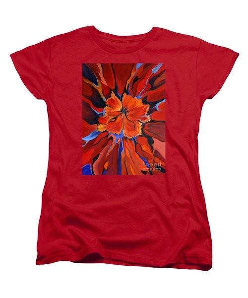 Women's T-Shirt (Standard Cut) featuring the painting Red Bloom by Alison Caltrider