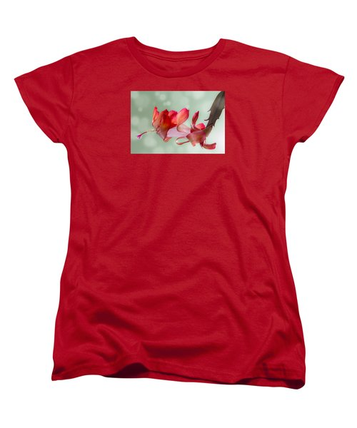 Red Christmas Cactus Bloom Women's T-Shirt (Standard Cut) by Patti Deters