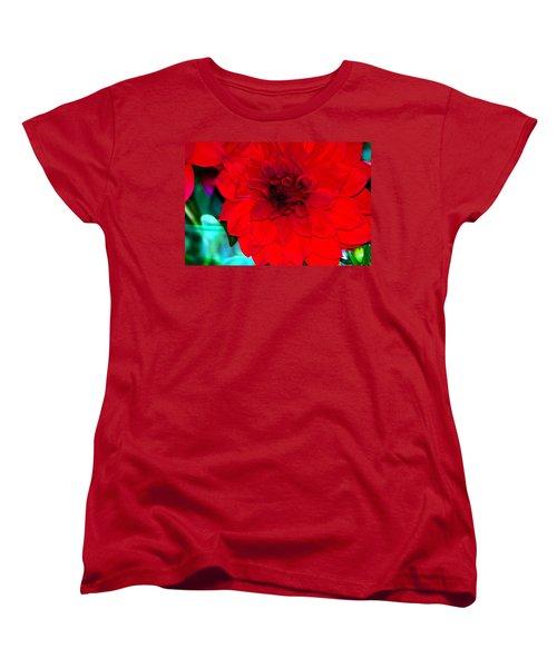 Women's T-Shirt (Standard Cut) featuring the photograph Red Dahlia by Lehua Pekelo-Stearns