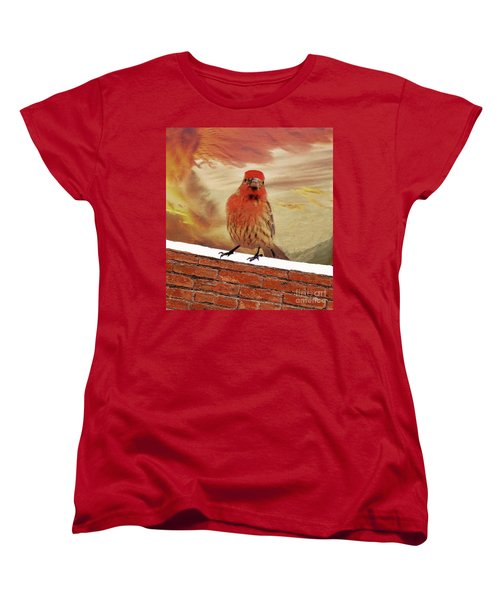 Red Finch On Red Brick Women's T-Shirt (Standard Cut) by Janette Boyd