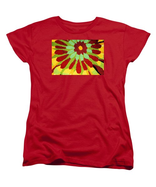 Women's T-Shirt (Standard Cut) featuring the photograph Red Flower Rug by Janette Boyd