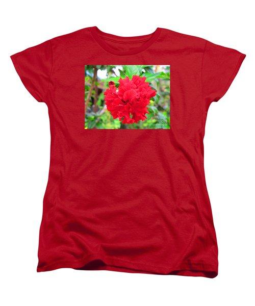 Red Flower Women's T-Shirt (Standard Cut) by Sergey Lukashin