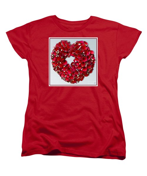 Women's T-Shirt (Standard Cut) featuring the photograph Red Heart Wreath by Victoria Harrington