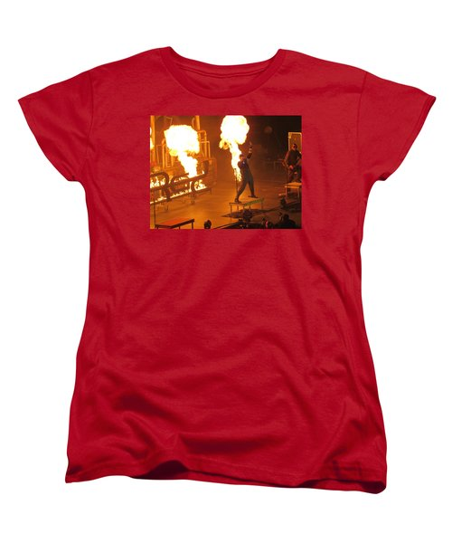 Women's T-Shirt (Standard Cut) featuring the photograph Red Heats Up Winterjam In Atlanta by Aaron Martens
