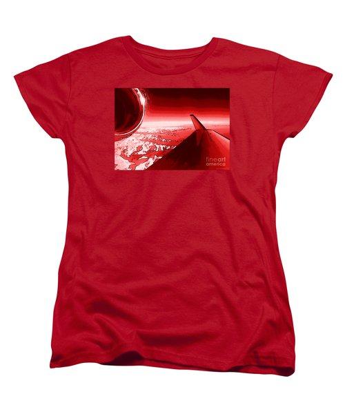 Women's T-Shirt (Standard Cut) featuring the photograph Red Jet Pop Art Plane by R Muirhead Art