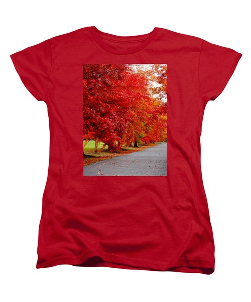 Red Leaf Road Women's T-Shirt (Standard Cut)