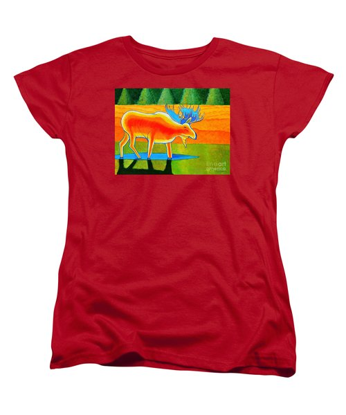 Women's T-Shirt (Standard Cut) featuring the painting Red Moose by Joseph J Stevens