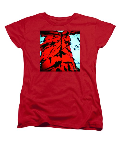 Red Owl Watching Over Me Women's T-Shirt (Standard Cut) by Jacqueline McReynolds