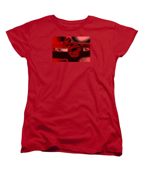 Red Passion. Rose Women's T-Shirt (Standard Cut) by Oksana Semenchenko