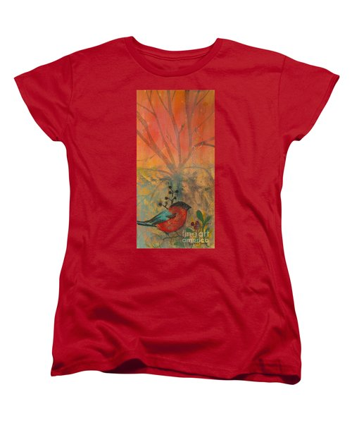 Women's T-Shirt (Standard Cut) featuring the painting Red Peace Bird by Robin Maria Pedrero