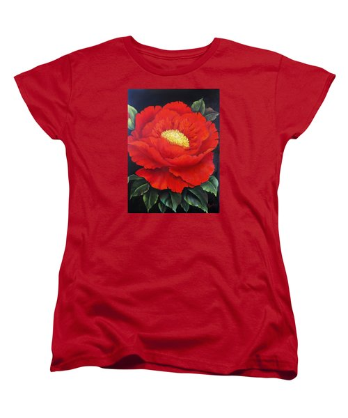 Red Peony Women's T-Shirt (Standard Cut) by Katia Aho