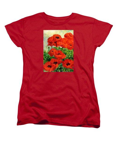 Red  Poppies In Shade Colorful Flowers Garden Art Women's T-Shirt (Standard Cut) by Elizabeth Sawyer