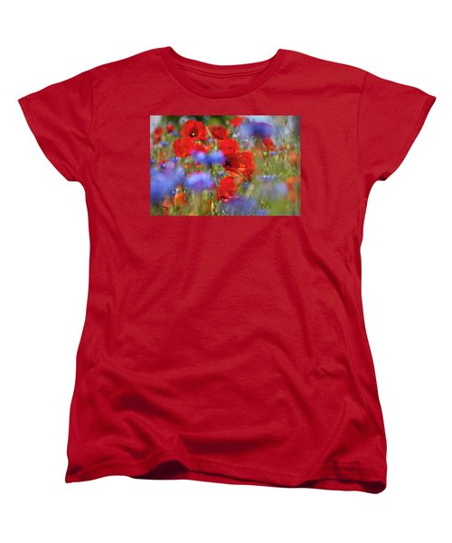 Red Poppies In The Maedow Women's T-Shirt (Standard Cut) by Heiko Koehrer-Wagner