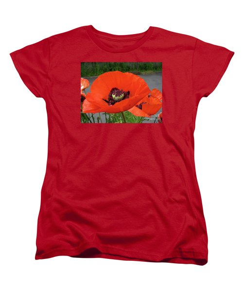 Red Poppy Women's T-Shirt (Standard Cut) by Barbara Griffin