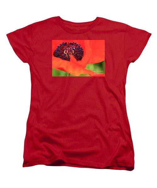 Red Poppy Women's T-Shirt (Standard Cut) by Linda Bianic