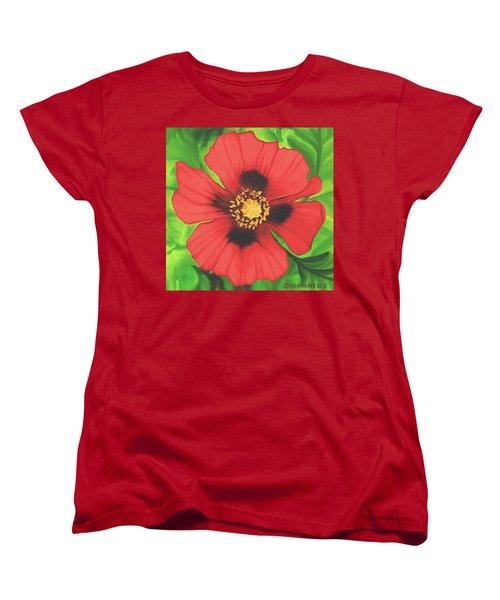 Women's T-Shirt (Standard Cut) featuring the painting Red Poppy by Sophia Schmierer