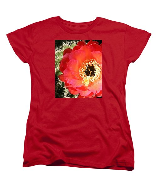 Red Prickly Pear Blossom Women's T-Shirt (Standard Cut) by Ellen Henneke