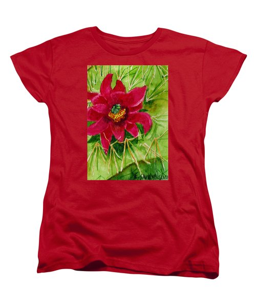 Women's T-Shirt (Standard Cut) featuring the painting Red Prickly Pear by Eric Samuelson
