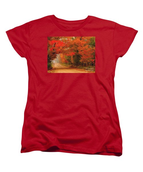 Red Red Autumn Women's T-Shirt (Standard Cut) by Terri Gostola