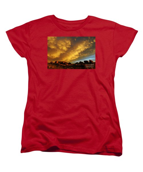 Women's T-Shirt (Standard Cut) featuring the photograph Red Rock Coulee Sunset by Vivian Christopher