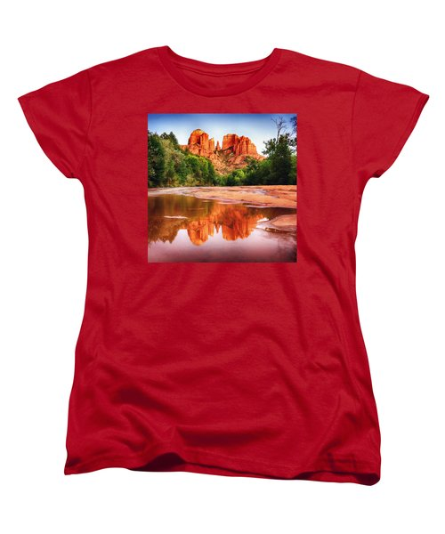 Red Rock State Park - Cathedral Rock Women's T-Shirt (Standard Cut) by Bob and Nadine Johnston
