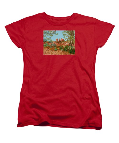 Women's T-Shirt (Standard Cut) featuring the painting Landscapes Desert Red Rocks Of Sedona Arizona by Katherine Young-Beck