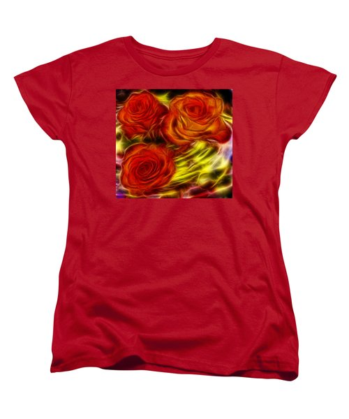 Women's T-Shirt (Standard Cut) featuring the painting Red Roses In Water - Fractal  by Lilia D