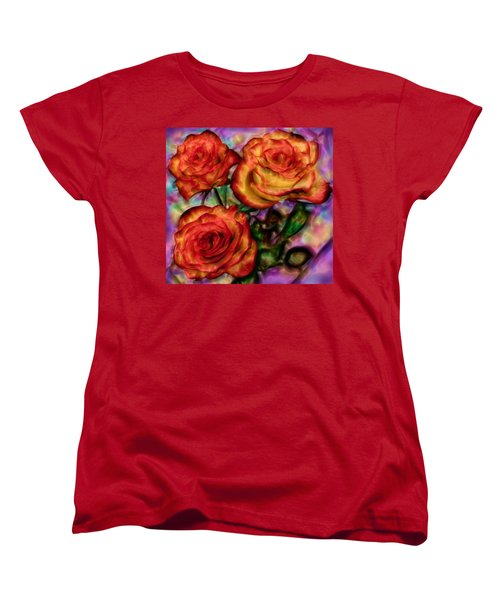 Women's T-Shirt (Standard Cut) featuring the digital art Red Roses In Water - Silk Edition by Lilia D