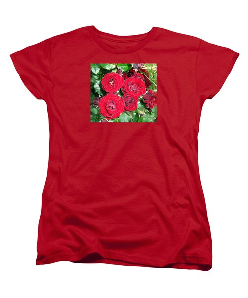 Women's T-Shirt (Standard Cut) featuring the photograph Red Roses by Vesna Martinjak
