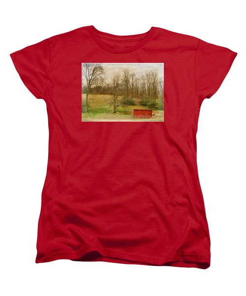 Red Shed Women's T-Shirt (Standard Cut) by Paulette B Wright