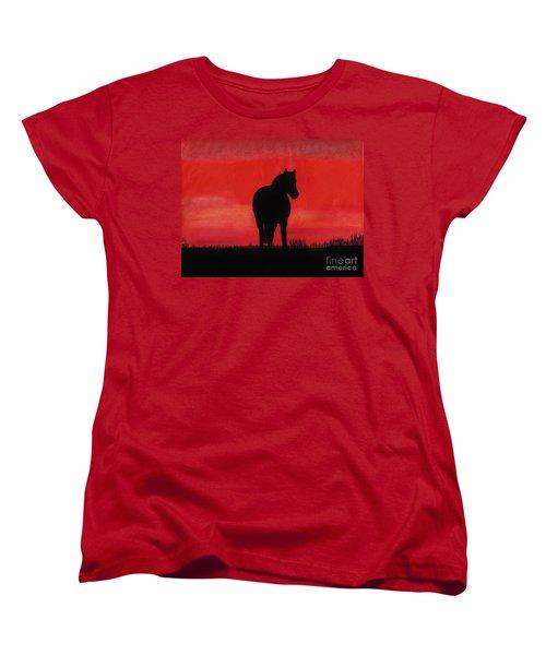Red Sunset Horse Women's T-Shirt (Standard Cut) by D Hackett
