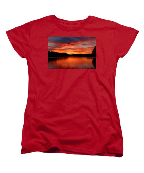 Red Sunset Reflections Women's T-Shirt (Standard Cut) by Denyse Duhaime