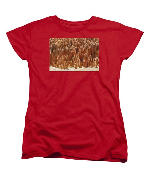 Women's T-Shirt (Standard Cut) featuring the photograph red Tsingy Madagascar 1 by Rudi Prott