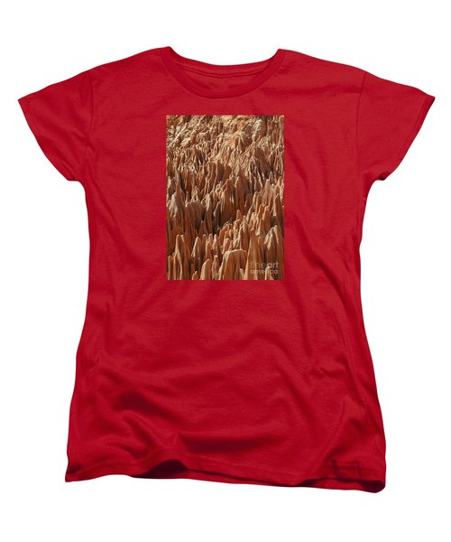 Women's T-Shirt (Standard Cut) featuring the photograph red Tsingy Madagascar 3 by Rudi Prott