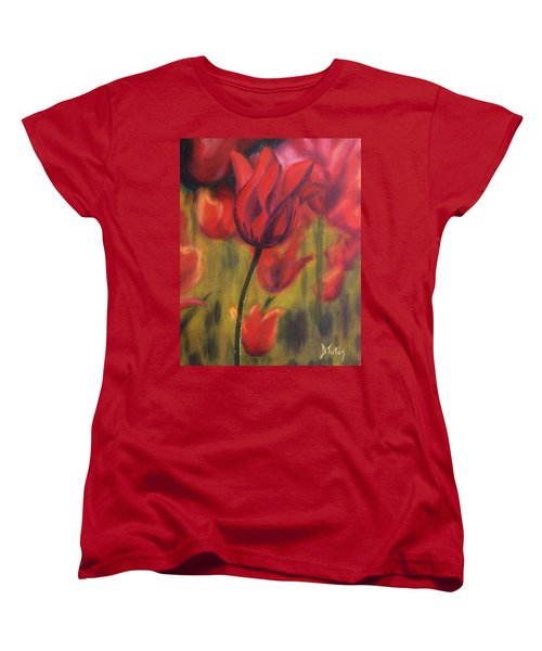 Women's T-Shirt (Standard Cut) featuring the painting Red Tulips by Donna Tuten