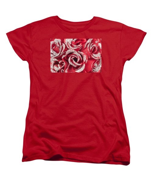 Women's T-Shirt (Standard Cut) featuring the photograph Red Valentines Day Roses by Gunter Nezhoda