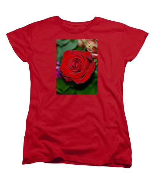 Women's T-Shirt (Standard Cut) featuring the photograph Red Velvet Rose by Connie Fox
