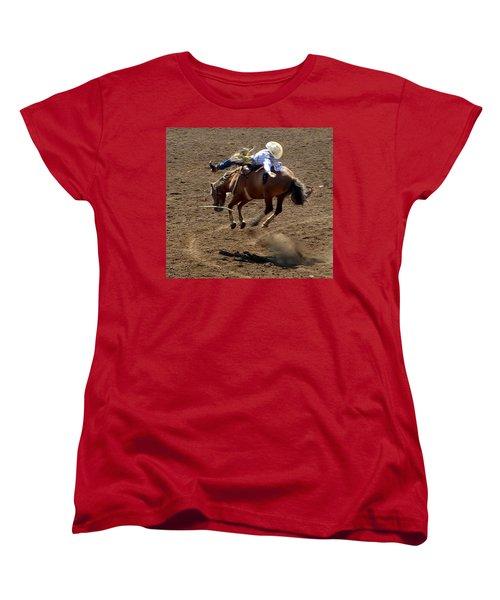 Rodeo Time Bucking Bronco 2 Women's T-Shirt (Standard Cut) by Susan Garren