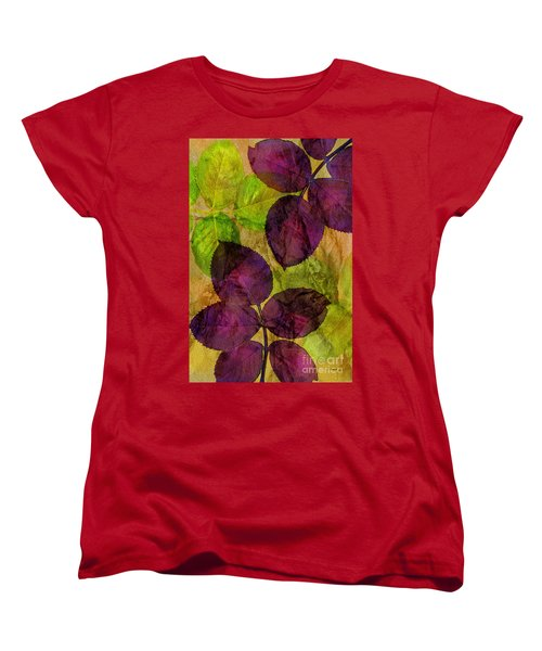 Rose Clippings Mural Wall Women's T-Shirt (Standard Cut) by Claudia Ellis