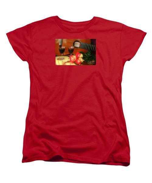 Women's T-Shirt (Standard Cut) featuring the photograph Guitar 'n Roses by The Art of Alice Terrill