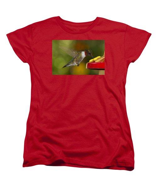 Women's T-Shirt (Standard Cut) featuring the photograph Ruby-throat Hummer Sipping by Robert L Jackson