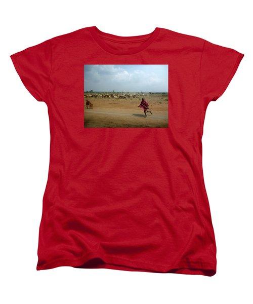 Running Boy Women's T-Shirt (Standard Cut) by Debi Demetrion