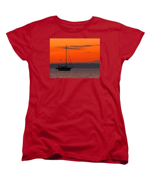 Sailboat At Sunset Women's T-Shirt (Standard Cut) by Marcia Socolik