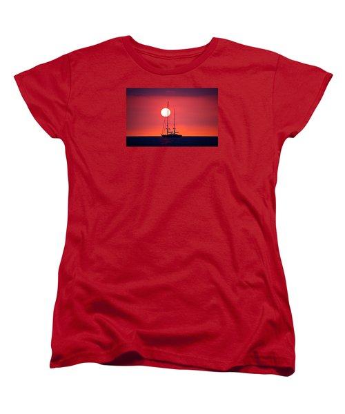 Sailboat Sunset Women's T-Shirt (Standard Cut) by Venetia Featherstone-Witty