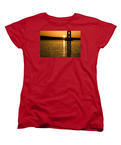 Women's T-Shirt (Standard Cut) featuring the photograph San Francisco Bay Bridge Sunrise by Georgia Mizuleva