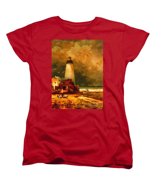 Sandy Hook Lighthouse - After Moran Women's T-Shirt (Standard Cut) by Lianne Schneider