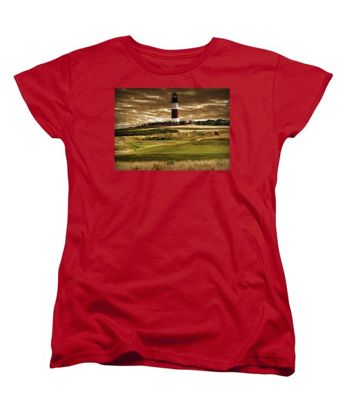 Women's T-Shirt (Standard Cut) featuring the photograph Sankaty Head Lighthouse In Nantucket by Mitchell R Grosky