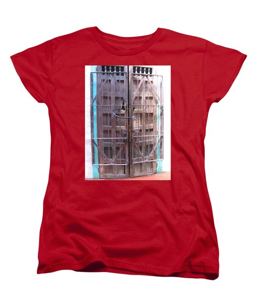 Women's T-Shirt (Standard Cut) featuring the photograph Santa Fe Old Door by Dora Sofia Caputo Photographic Art and Design