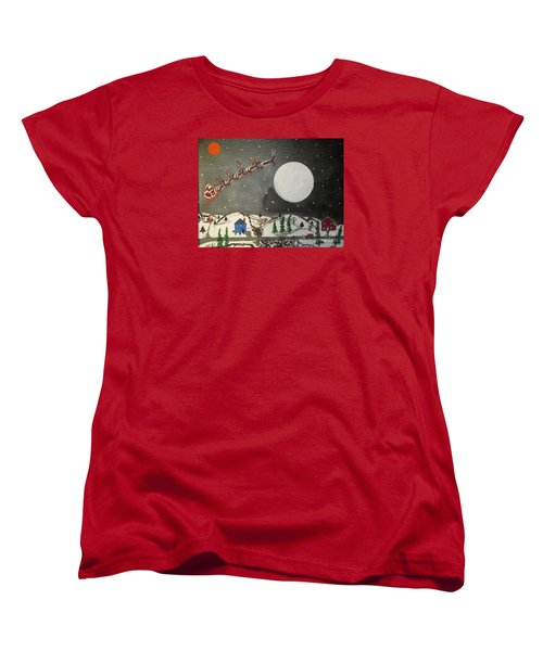 Women's T-Shirt (Standard Cut) featuring the painting Santa Over The Moon by Jeffrey Koss